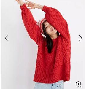 Madewell Copenhagen Cable Sweater in Enamel Red